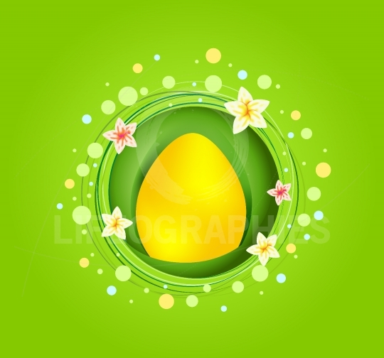 Yellow Easter egg with spring element card
