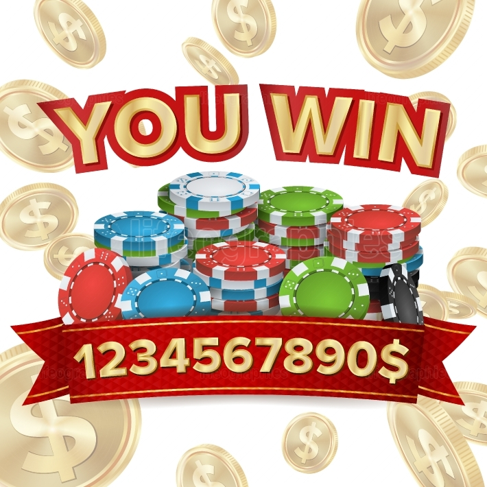You Win  Jackpot Background Vector  Falling Explosion Gold Coins Illustration  Jackpot Prize Design  Poker Chips  Coins Background