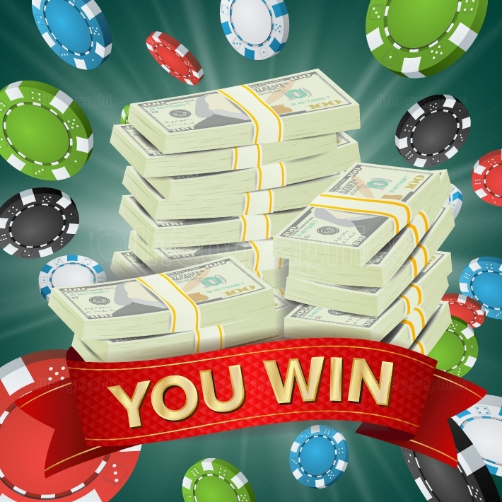 You Win  Winner Background Vector  Gambling Poker Chips Lucky Jackpot Illustration  Big Win Banner  For Online Casino, Playing Cards, Slots, Roulette  Money Stacks  Nightclub Billboard Concept
