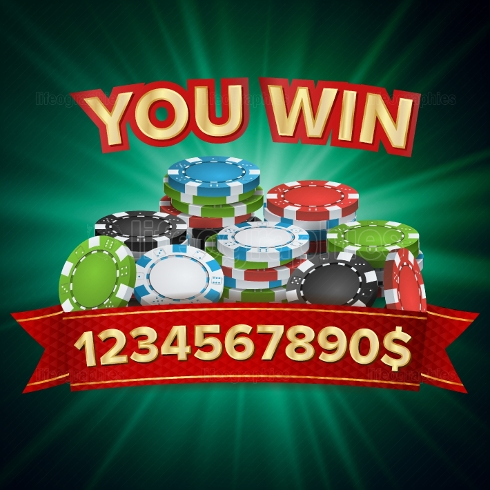 You Win  Winner Background Vector  Jackpot Illustration  Big Win Banner  For Online Casino, Playing Cards, Slots, Roulette  Poker Chips Stacks